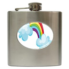 Could Rainbow Red Yellow Green Blue Purple Hip Flask (6 oz)