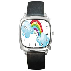 Could Rainbow Red Yellow Green Blue Purple Square Metal Watch