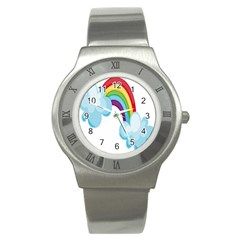 Could Rainbow Red Yellow Green Blue Purple Stainless Steel Watch