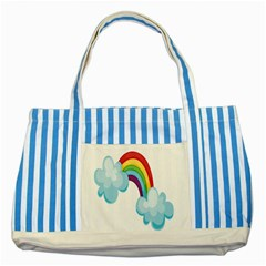 Could Rainbow Red Yellow Green Blue Purple Striped Blue Tote Bag
