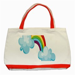 Could Rainbow Red Yellow Green Blue Purple Classic Tote Bag (Red)