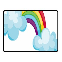 Could Rainbow Red Yellow Green Blue Purple Fleece Blanket (Small)