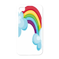 Could Rainbow Red Yellow Green Blue Purple Apple iPhone 4 Case (White)