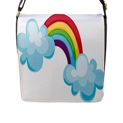 Could Rainbow Red Yellow Green Blue Purple Flap Messenger Bag (L)