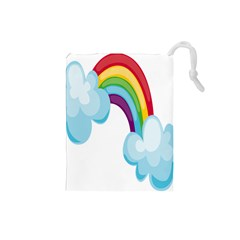 Could Rainbow Red Yellow Green Blue Purple Drawstring Pouches (small)