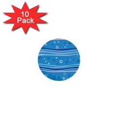 Blue Circle Line Waves 1  Mini Buttons (10 pack)