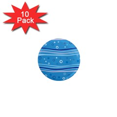 Blue Circle Line Waves 1  Mini Magnet (10 pack)