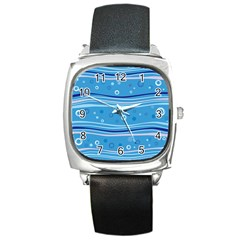 Blue Circle Line Waves Square Metal Watch