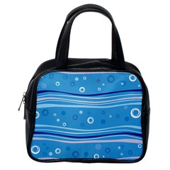 Blue Circle Line Waves Classic Handbags (One Side)