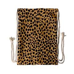 Cheetah Skin Spor Polka Dot Brown Black Dalmantion Drawstring Bag (Small)
