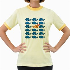 Fish Animals Whale Blue Orange Love Women s Fitted Ringer T-Shirts