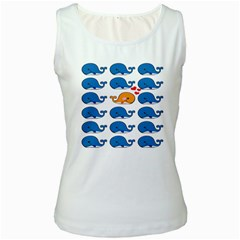 Fish Animals Whale Blue Orange Love Women s White Tank Top