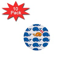 Fish Animals Whale Blue Orange Love 1  Mini Buttons (10 pack)