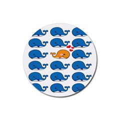 Fish Animals Whale Blue Orange Love Rubber Round Coaster (4 pack)