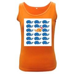 Fish Animals Whale Blue Orange Love Women s Dark Tank Top