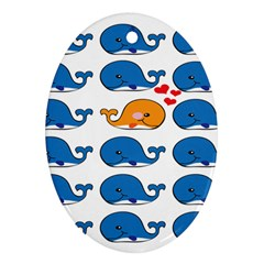 Fish Animals Whale Blue Orange Love Oval Ornament (Two Sides)