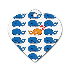 Fish Animals Whale Blue Orange Love Dog Tag Heart (Two Sides)