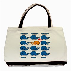 Fish Animals Whale Blue Orange Love Basic Tote Bag (Two Sides)