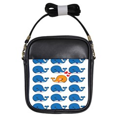 Fish Animals Whale Blue Orange Love Girls Sling Bags