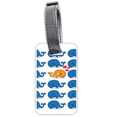Fish Animals Whale Blue Orange Love Luggage Tags (Two Sides)