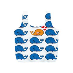 Fish Animals Whale Blue Orange Love Full Print Recycle Bags (s)