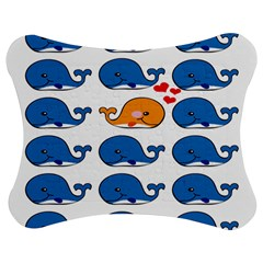 Fish Animals Whale Blue Orange Love Jigsaw Puzzle Photo Stand (Bow)