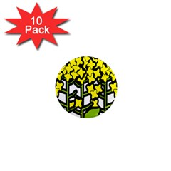 Flower Floral Sakura Yellow Green Leaf 1  Mini Magnet (10 pack)