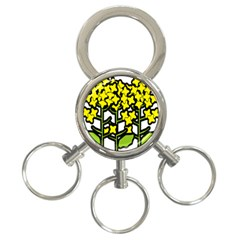 Flower Floral Sakura Yellow Green Leaf 3-Ring Key Chains
