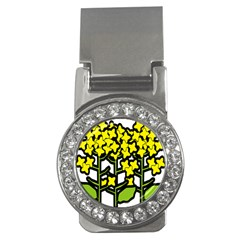 Flower Floral Sakura Yellow Green Leaf Money Clips (CZ)