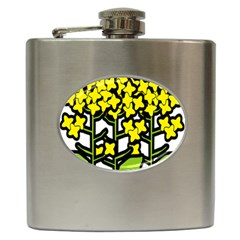 Flower Floral Sakura Yellow Green Leaf Hip Flask (6 oz)