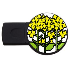 Flower Floral Sakura Yellow Green Leaf USB Flash Drive Round (4 GB)