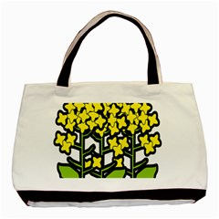 Flower Floral Sakura Yellow Green Leaf Basic Tote Bag