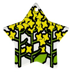 Flower Floral Sakura Yellow Green Leaf Star Ornament (two Sides)