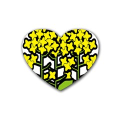 Flower Floral Sakura Yellow Green Leaf Heart Coaster (4 pack)