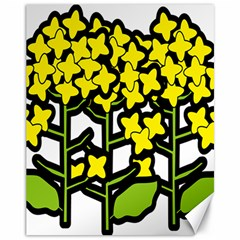Flower Floral Sakura Yellow Green Leaf Canvas 11  x 14