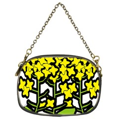 Flower Floral Sakura Yellow Green Leaf Chain Purses (Two Sides)