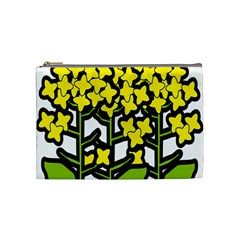 Flower Floral Sakura Yellow Green Leaf Cosmetic Bag (Medium)