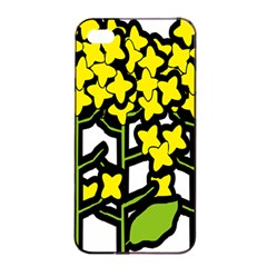 Flower Floral Sakura Yellow Green Leaf Apple iPhone 4/4s Seamless Case (Black)