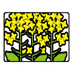 Flower Floral Sakura Yellow Green Leaf Double Sided Fleece Blanket (small)