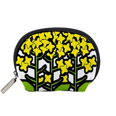 Flower Floral Sakura Yellow Green Leaf Accessory Pouches (Small)