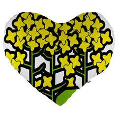 Flower Floral Sakura Yellow Green Leaf Large 19  Premium Flano Heart Shape Cushions