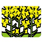 Flower Floral Sakura Yellow Green Leaf Double Sided Flano Blanket (Large)  80 x60 Blanket Front