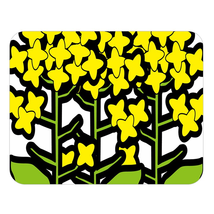 Flower Floral Sakura Yellow Green Leaf Double Sided Flano Blanket (Large)