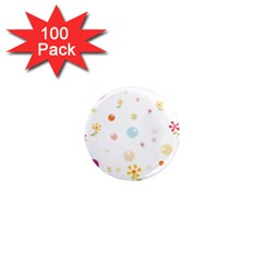 Flower Floral Star Balloon Bubble 1  Mini Magnets (100 pack)