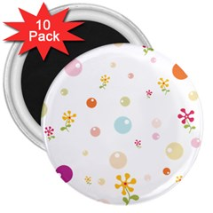 Flower Floral Star Balloon Bubble 3  Magnets (10 pack)
