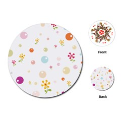 Flower Floral Star Balloon Bubble Playing Cards (Round)