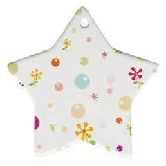 Flower Floral Star Balloon Bubble Star Ornament (Two Sides)