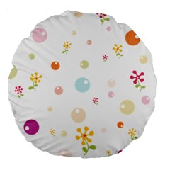 Flower Floral Star Balloon Bubble Large 18  Premium Round Cushions
