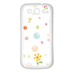Flower Floral Star Balloon Bubble Samsung Galaxy S3 Back Case (White)