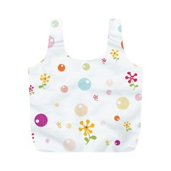 Flower Floral Star Balloon Bubble Full Print Recycle Bags (m)